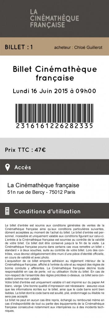 Billet Mobile Cinémathèque Française